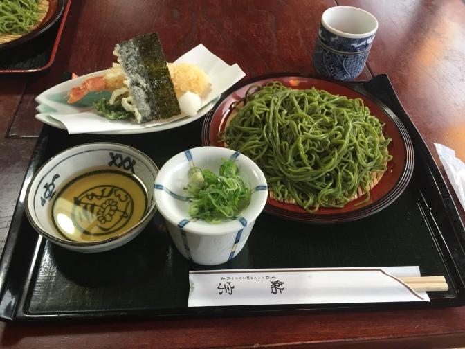 Green tea soba noodle