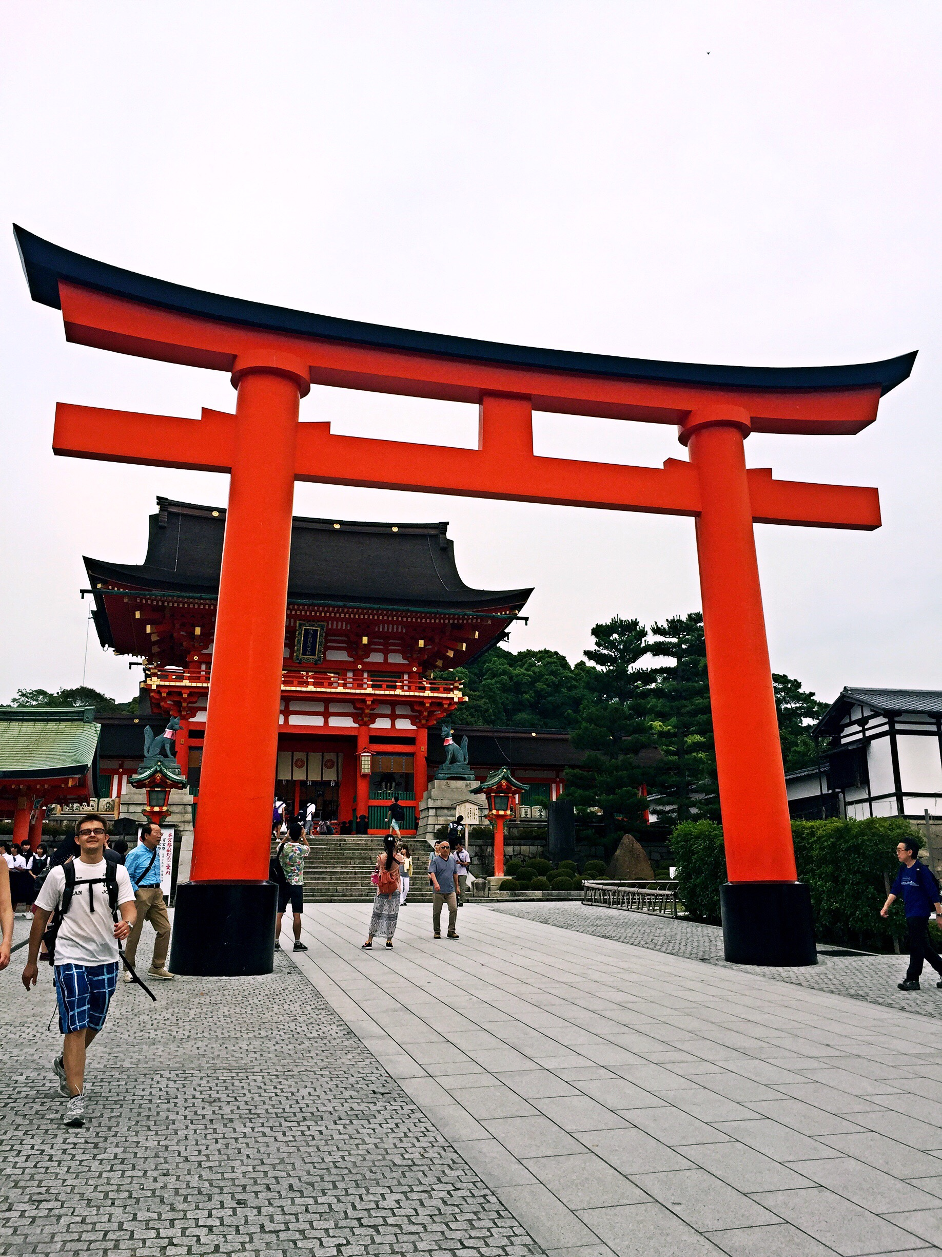 Torii gate in front of main building, Honden